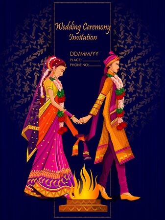 Photo pour Indian Bride and Groom in ethnic dress Lengha and Serwani for wedding Day. Vector illustration - image libre de droit