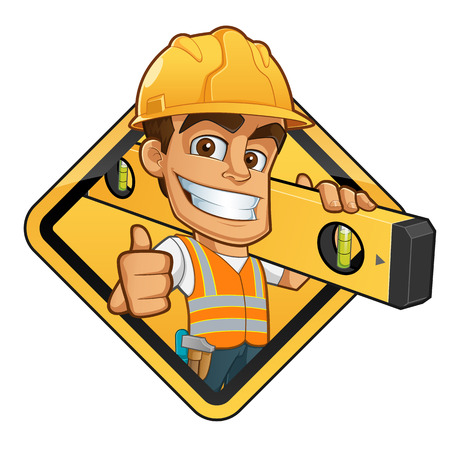 Illustration pour Friendly builder with helmet, carrying a level bubble and a belt with tools - image libre de droit