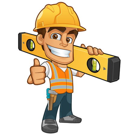 Photo for Friendly builder with helmet, carrying a level bubble and a belt with tools - Royalty Free Image