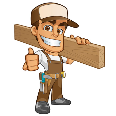 Illustration pour Friendly carpenter, he is dressed in work clothes and carrying a wooden - image libre de droit