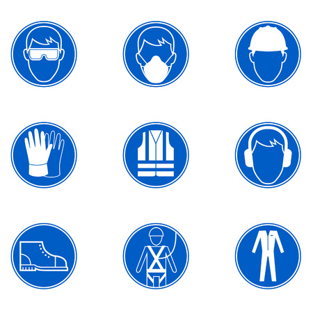 Illustration pour Six signs of safety and protection at work - image libre de droit