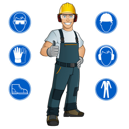 Illustration pour Man dressed in work clothes, and safety at work signs - image libre de droit