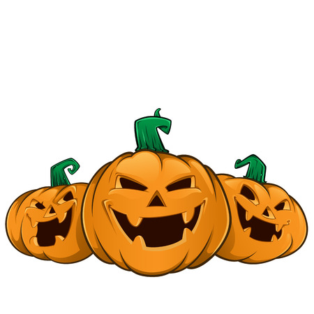 Illustrazione per Three pumpkins with evil faces, these are used for Halloween - Immagini Royalty Free