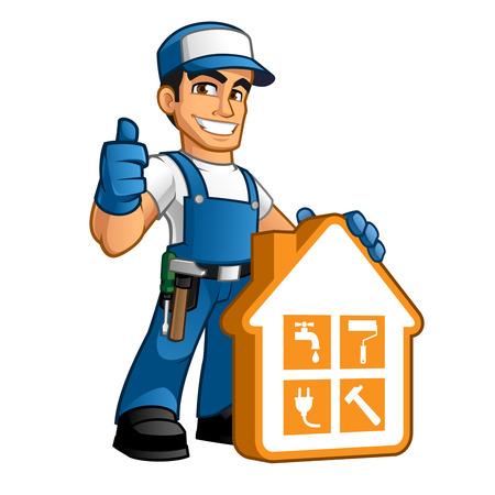 Photo pour Handyman wearing work clothes and a belt, with tool - image libre de droit