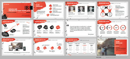 Ilustración de Red presentation templates elements on a white background. Vector infographics. Use in Presentation, flyer and leaflet, corporate report, marketing, advertising, annual report, banner. - Imagen libre de derechos