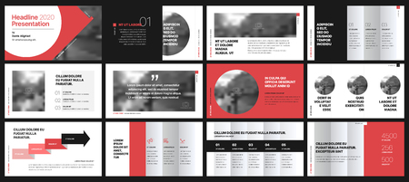 Ilustración de Presentation templates elements on a white background. Vector infographics. Use in Presentation, flyer and leaflet, corporate report, marketing, advertising, annual report, banner. - Imagen libre de derechos