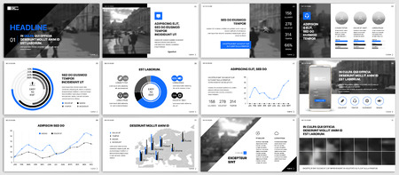 Ilustración de Blue elements for infographics on a white background. Presentation templates. Use in presentation, flyer and leaflet, corporate report, marketing, advertising, annual report, banner. - Imagen libre de derechos