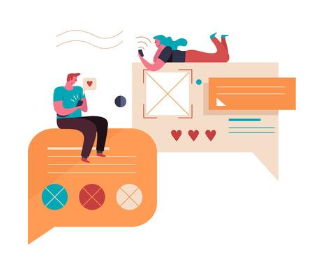 Illustration pour Young People communicate on the Internet. Virtual relationships. Vector illustration - image libre de droit