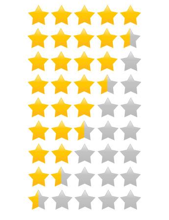 Ilustración de Star rating with half star increment - Imagen libre de derechos