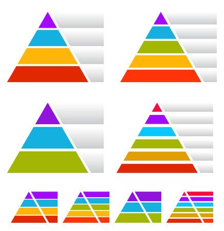 Illustration pour Triangle, pyramid charts with banners - image libre de droit