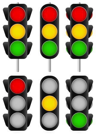 3 different traffic light set. Isolated and versions with poles /traffic lamps, semaphores, green, red, yellow and stoplight/