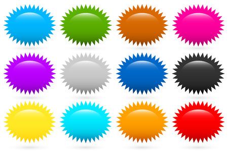 Ilustración de Starburst, flash shapes in 12 colors - Imagen libre de derechos