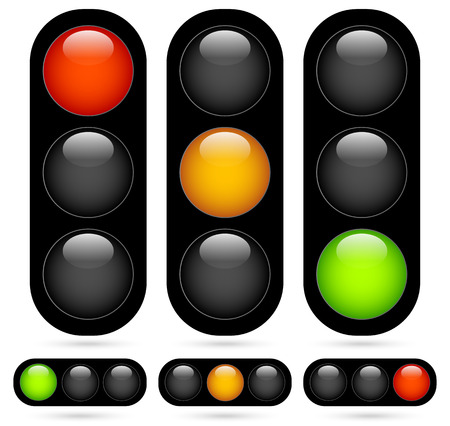 Illustration pour Vector Illustration of Traffic Light / Traffic Lamp set. Vector Illustration. - image libre de droit