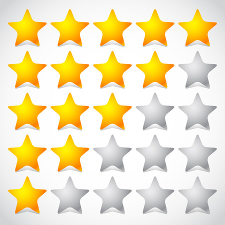 Illustration for 5 star star rating element. Vector graphics. - Royalty Free Image