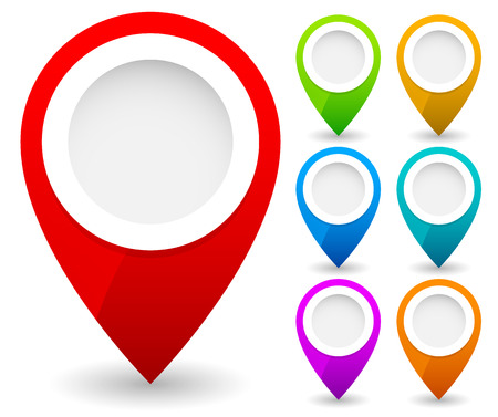 Foto de Map marker, map pin vector. Map markers with circles with blank space. 7 colors. Vector graphics. - Imagen libre de derechos