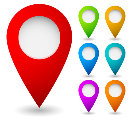 Photo pour Map marker, map pin vector. Map markers with circles with blank space. 7 colors. Vector graphics. - image libre de droit