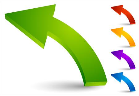 Ilustración de Set of curved, colored arrows pointing left - Imagen libre de derechos