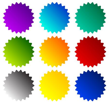 Ilustración de Badge, starburst, price flash shapes. Vector illustration. - Imagen libre de derechos