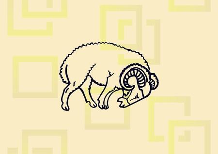 Ilustración de Vector illustration of a sheep. - Imagen libre de derechos