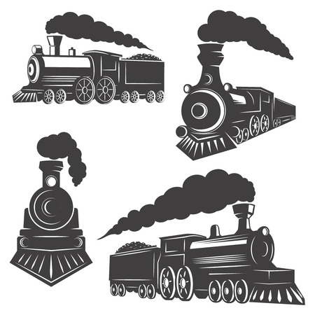 Ilustración de Set of trains icons isolated on white background. Design elements , label, emblem, sign, brand mark. Vector illustration. - Imagen libre de derechos