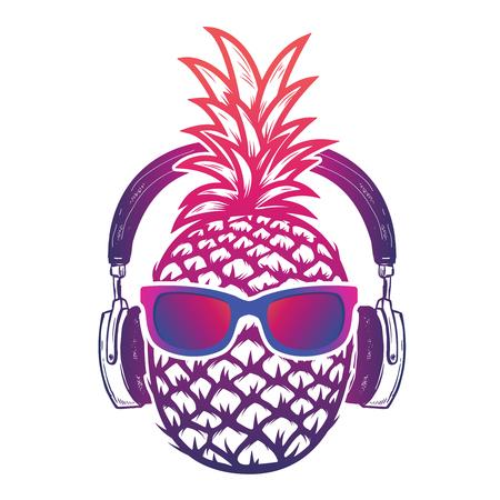 Illustration pour Pineapple with sunglases and headphones. Summer consept. Vector illustration. - image libre de droit