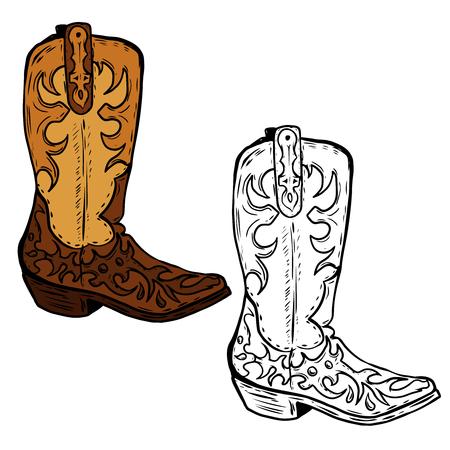 Ilustración de Hand drawn Cowboy boots illustration. Design element for poster, flyer. Vector illustration - Imagen libre de derechos