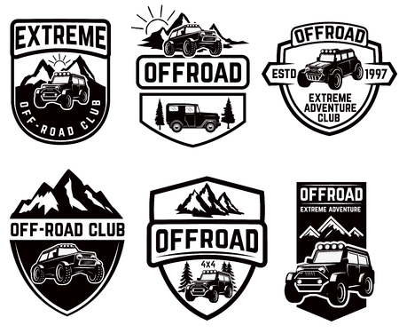 Illustration pour Set of four off-road suv car emblems. Extreme adventure club. Vector illustration - image libre de droit