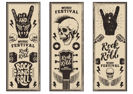 Illustration for Rock and roll party flyers template. Vintage guitars, punk skull, rock and roll sign on grunge background. Vector illustration - Royalty Free Image