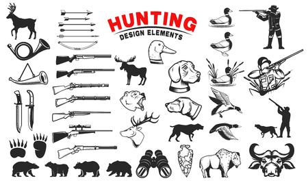 Ilustración de Set of hunting design elements. Hunting dogs, weapon, shooters silhouettes. Deer, bears, wild ducks. Design elements for emblem, sign, label, badge. Vector illustration - Imagen libre de derechos