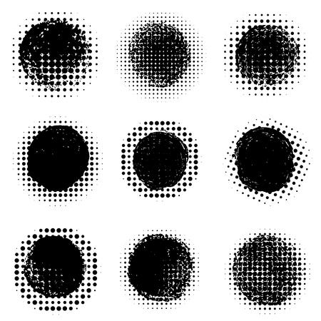 Ilustración de Abstract halftone round dotted shapes. Vector design element - Imagen libre de derechos
