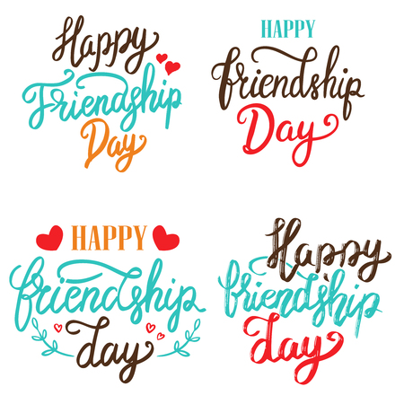 Illustration for Happy Friendship Day. Set of hand drawn lettering phrases on white background. Design element for poster, greeting card. Vector illustration - Royalty Free Image