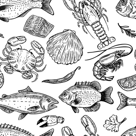 Illustration pour Seafood hand drawn seamless pattern. Design element for poster, wrapping paper. Vector illustration - image libre de droit