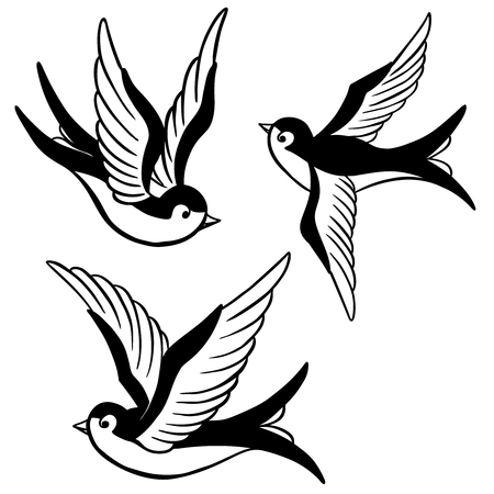 Illustration for set of the swallow icons. Design elements for poster, t-shirt. Vector illustration. - Royalty Free Image
