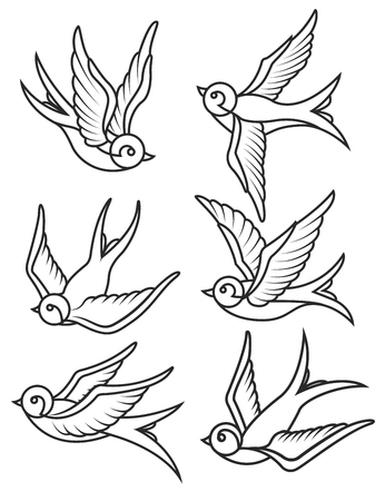 Illustration for Set of swallow tattoo templates isolated on white background. Bird icons. Vector illustration. - Royalty Free Image