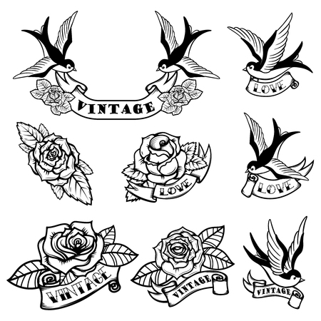 Illustration pour Set of tattoo templates with swallows and roses. Old school tattoo. Vector illustration. - image libre de droit