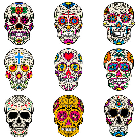 Illustration pour Set of sugar skulls isolated on white  background. Day of the dead. Dia de los muertos. Vector illustration. - image libre de droit
