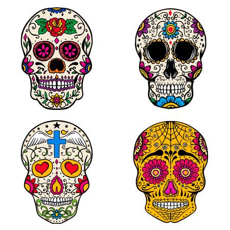 Ilustración de Set of sugar skulls isolated on white  background. Day of the dead. Dia de los muertos. Vector illustration - Imagen libre de derechos