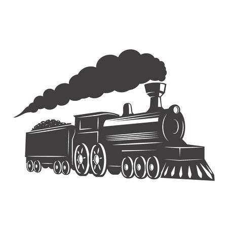 Illustration pour Vintage train isolated on white background. Design element for logo, label, emblem, sign. Vector illustration - image libre de droit