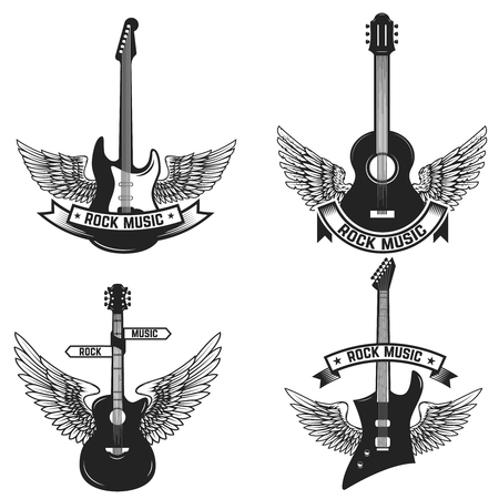 Illustration pour Set of labels with guitars and wings. Rock music. Design elements for emblem, sign, badge. Vector illustration - image libre de droit