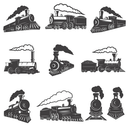 Illustration pour Set of vintage trains isolated on white background. Design element for label, brand mark, sign, poster. Vector illustration - image libre de droit