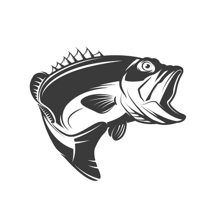 Ilustración de Bass fish icon isolated on white background. Design element for logo, emblem, sign, brand mark.  Vector illustration - Imagen libre de derechos