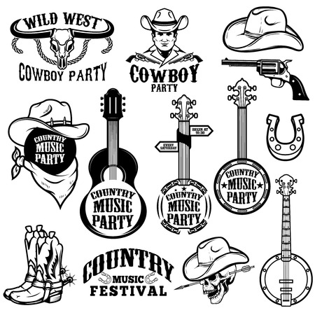 Ilustración de Set of country music festival emblems and design elements - Imagen libre de derechos