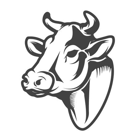 Illustration pour Cow head icon isolated - image libre de droit