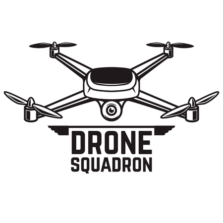 Illustration pour A Drone illustration isolated on white background. Quadcopter icon. Design element for logo, label, emblem, sign. Vector illustration - image libre de droit