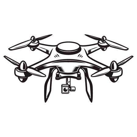 Illustration pour A Drone illustration isolated on white background. Quadcopter icon. Design element for logo, label, emblem, sign. Vector illustration - image libre de droit