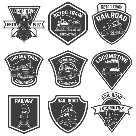 Illustration pour Set of the emblems with vintage trains isolated on white background. Design elements for logo, label, emblem, sign, badge. Vector illustration - image libre de droit