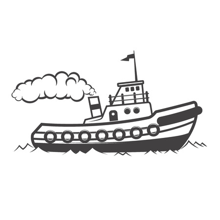 Ilustración de Towing ship illustration isolated on white background. Design elements for logo, label, emblem, sign. Vector illustration - Imagen libre de derechos