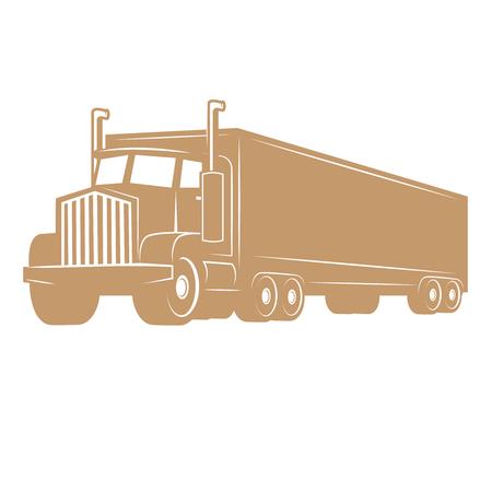 Illustration pour Cargo truck illustration isolated on white background. Design elements for logo, label, emblem, sign, brand mark. Vector illustration. - image libre de droit