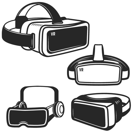 Illustration pour Set of virtual reality glasses icons isolated on white background. Design element for logo, label, emblem, sign. Vector illustration - image libre de droit