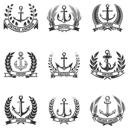 Illustration for Set of the emblems with anchors and wreaths. Design elements for logo, label, emblem, sign, badge. Vector illustration - Royalty Free Image